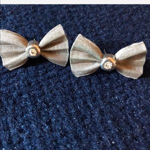 Silver and rhinestone bow earrings